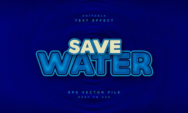 Save water editable text effect on deep blue background and light blue text