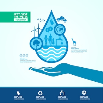 Save the water for green ecology world illustration