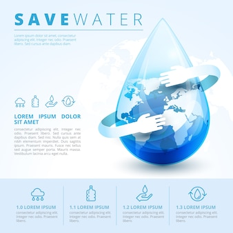 Save water infographic concept