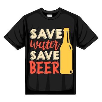 Экономьте воду, экономьте пиво типография premium vector tshirt design цитата шаблон