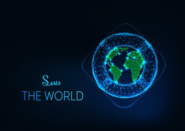 Save the world background with futuristic glowing low polygonal lifebuoy around the planet earth globe.