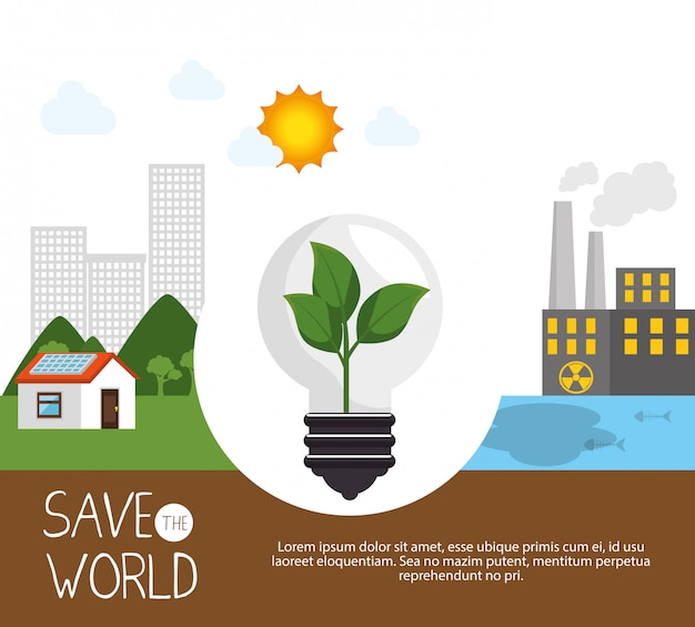 Save the world design in flat style