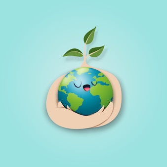 Save the world and eco concept paper art style