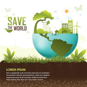 Save the world eco tree concept