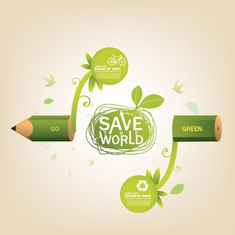 Save world and ecology concept
