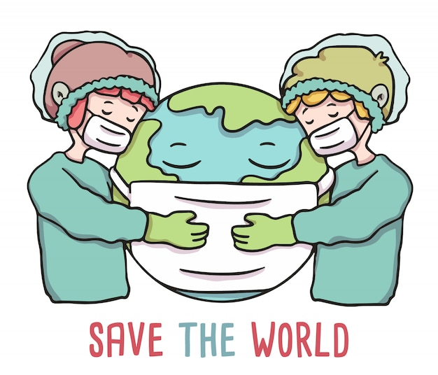 Save the world people hugging earth wearing mask covid-19 outbreak illustration