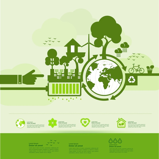 Save the world together green ecology .