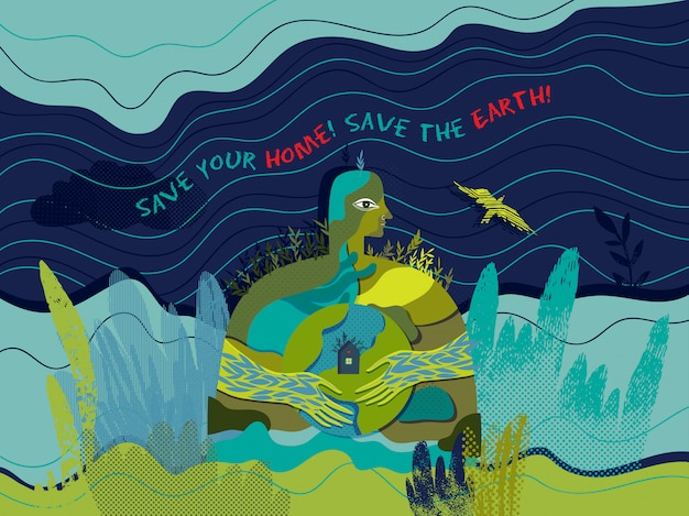 Save your home! save the earth! vector conceptual ecological poster.