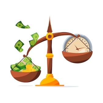 Сэкономь свои деньги. часы и деньги на весах. инвестиционная концепция
