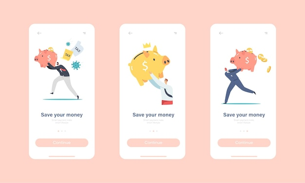 Save your money mobile app page onboard screen template. tiny characters with huge piggy bank. people saving and collect money in thrift-box, bank deposit concept. cartoon people vector illustration