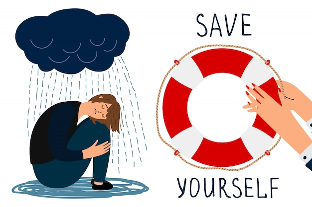 Save yourself  concept. depressed girl and lifebuoy illustration