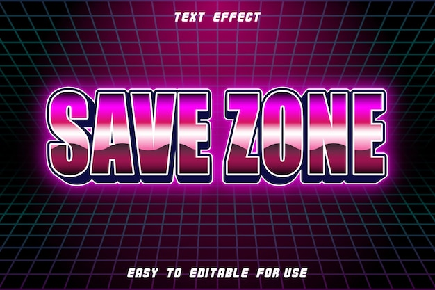 Save zone editable text effect emboss retro style
