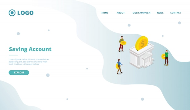 Saving account for campaign web website home homepage landing page template with modern flat cartoon style.