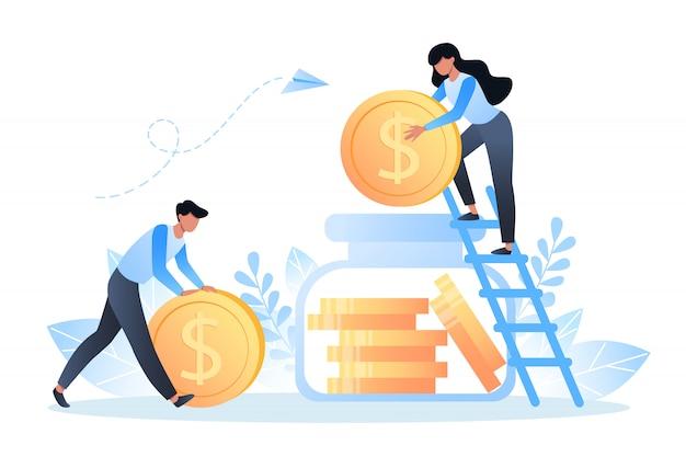 돈을 저축하고 투자하는 사람들은 돈 상자에 달러 동전을 쌓습니다.