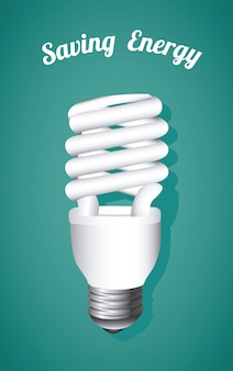 Saving energy, bulb on blue