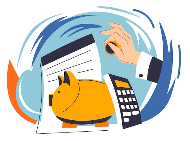 Saving and investing money, businessman hand inserting coin in piggy bank. papers and calculator for planning budget and financial assets. payments and business profits. vector in flat style