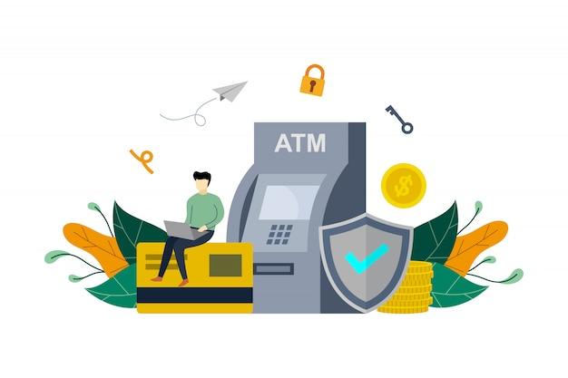 Saving money in bank concept illustration