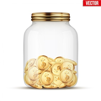 Saving money coin in jar.