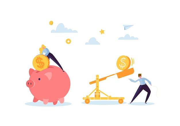 Экономия денег концепции. деловые персонажи собирают золотые монеты в розовую копилку. богатство, бюджет и доходы.