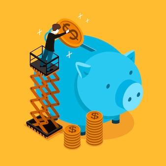 Концепция экономии денег в 3d изометрической плоской конструкции