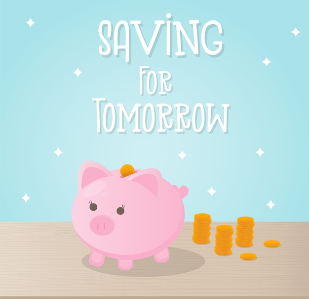 Saving money concept with cute piggy bank and coins
