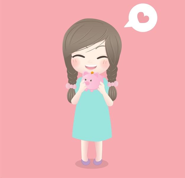 Saving money concept with a little girl carrying piggy bank.
