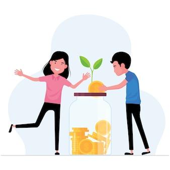 Функция экономии денег мужчина и женщина кладут монету в банку