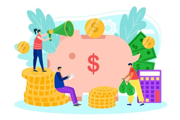 Saving money finance investment in bank illustration