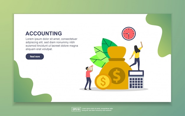 Saving money, financial freedom and budget business landing page