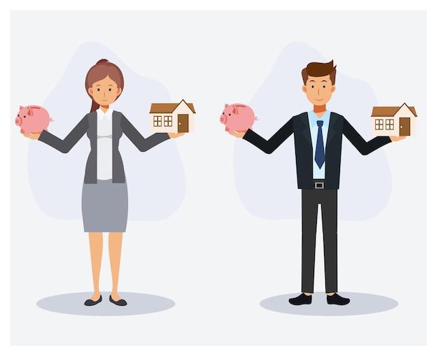 가정 개념을 위해 돈을 절약합니다. 돼지 저금통과 집을 손에 들고 있는 남자와 여자의 집합입니다. 평면 벡터 2d 만화 캐릭터 그림입니다.
