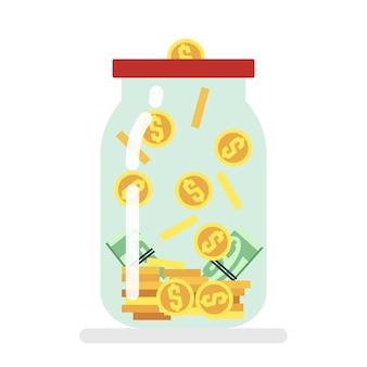 Saving money glass jar flat vector illustration