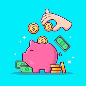 Saving money  icon . piggy, money and stack of coins, business icon  isolated