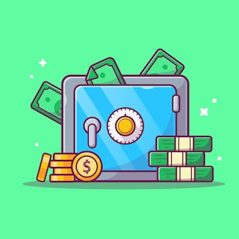 Saving money  icon . safe deposit box, money and stack of coins, business icon  isolated