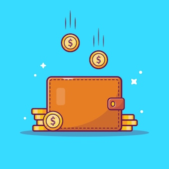Saving money  icon . wallet and stack of coins, business icon  isolated