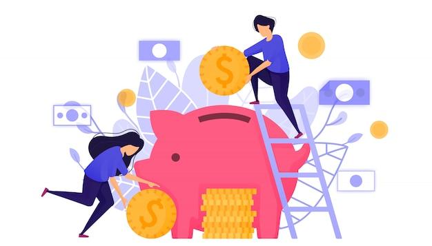 Saving money into a piggy bank.