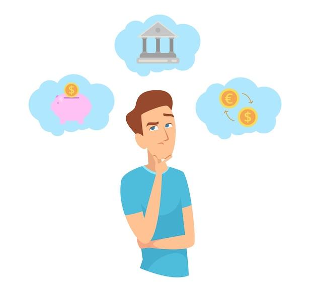 돈을 절약. 투자에 대해 생각하는 남자. 재무 계획, 예산 및 비즈니스 개념.