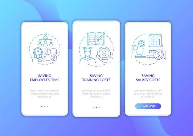 コンセプトのあるダークブルーのオンボーディングモバイルアプリページ画面でお金を節約