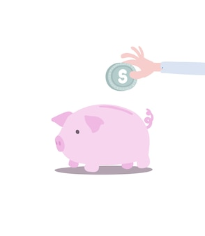 Saving money in piggy bank in pastel color and kid style