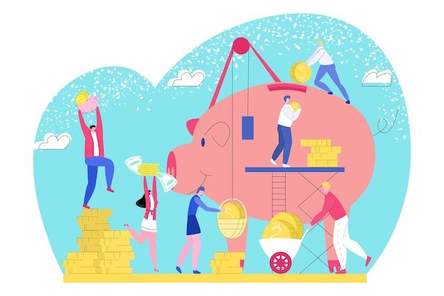 Saving money in piggy bank, vector illustration. business finance, coins investment for tiny man woman people character collect financial income. economy wealth, worker person with dollar cash.
