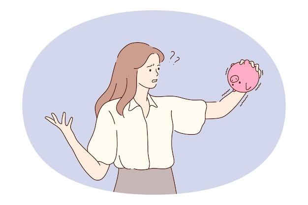 Saving money, piggybank, financial loss concept