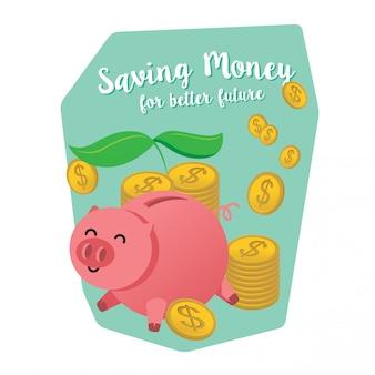 Saving money poster illustration