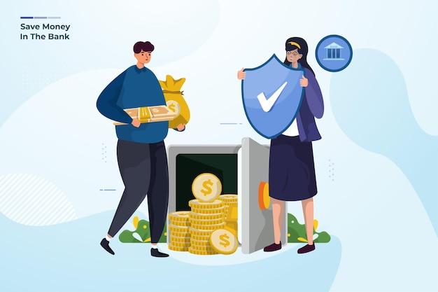 Сохранение денег в безопасности на банковской иллюстрации