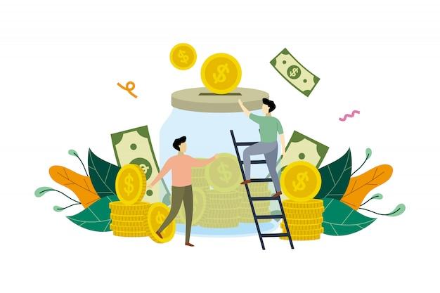 Saving money with large jar concept illustration