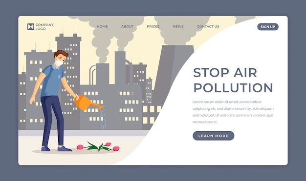 Saving nature flat landing page template. stop air pollution, decrease industrial emissions one page website design. man watering flower in polluted city cartoon character with text space