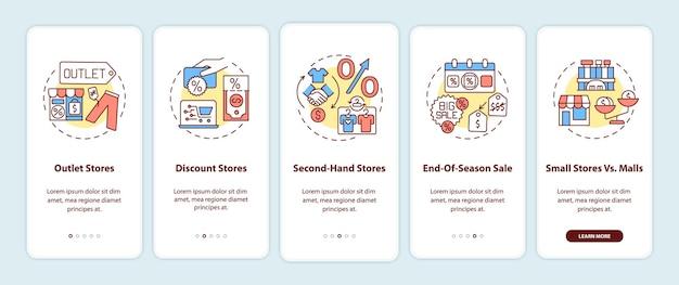 コンセプトを備えたモバイルアプリのページ画面にオンボーディングする衣類の購入を節約