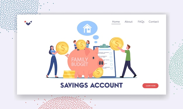 Savings account landing page template. people earn and save money, universal basic income, capital, wealth, family budget. tiny characters collect coins in huge piggy bank. cartoon vector illustration