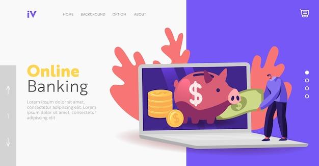 저축 계좌 랜딩 페이지 템플릿. 작은 남성 캐릭터는 거대한 노트북 화면에서 돼지 저금통에 돈을 넣습니다. 남자는 절약 상자 오픈 은행 예금, 예산 경제에서 돈을 수집합니다. 만화 벡터 일러스트 레이 션