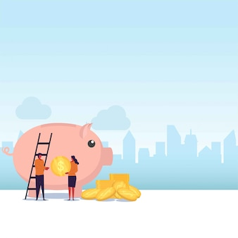 Savings flat  couple take coins and put on giant piggy bank.