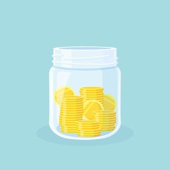 Экономия. стеклянная банка для денег, полная золотых монет. накопление наличных в копилке. рост, доход, инвестиции, концепция богатства