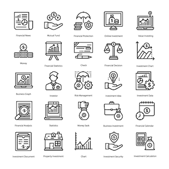 Savings and investment icons set